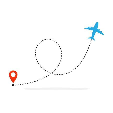 Illustration pour Plane and its track on white background. Vector illustration. Aircraft flight path and its route - image libre de droit