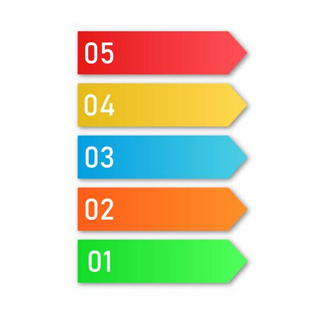 Illustration for Colored process steps. Vector Infographic elements. Numbers of business steps - Royalty Free Image