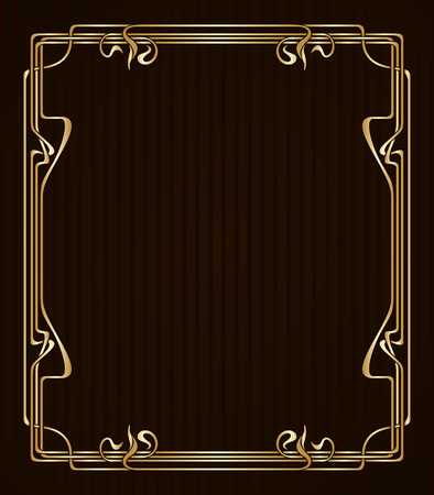Illustration for Vector art nouveau golden frame with space for text. - Royalty Free Image