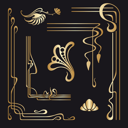 Illustration for Vector set of art nouveau decorative elements for design, print, embroidery. - Royalty Free Image