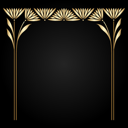 Illustration pour Vector art nouveau gold frame with space for text. - image libre de droit