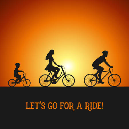 Illustration pour Family on the bicycle trip. Silhouettes on the bicycles. Sunset background. - image libre de droit