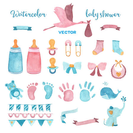 Illustration pour Watercolor baby shower vector set of design elements. - image libre de droit