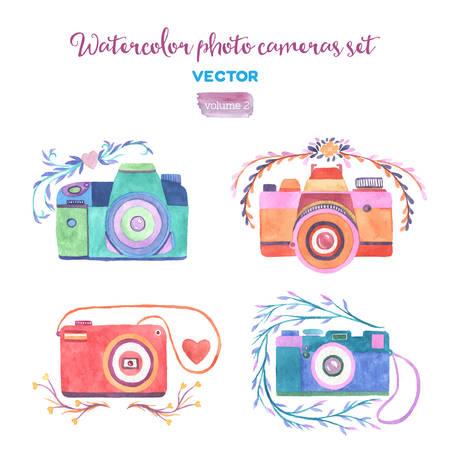Illustration pour Watercolor vector photo cameras set. Isolated design elements. - image libre de droit