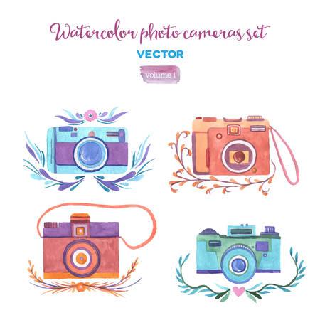 Ilustración de Watercolor vector photo cameras set. Isolated design elements. - Imagen libre de derechos