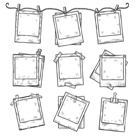Ilustración de Hand drawn vintage photo frame doodle set. All main elements are separate. - Imagen libre de derechos