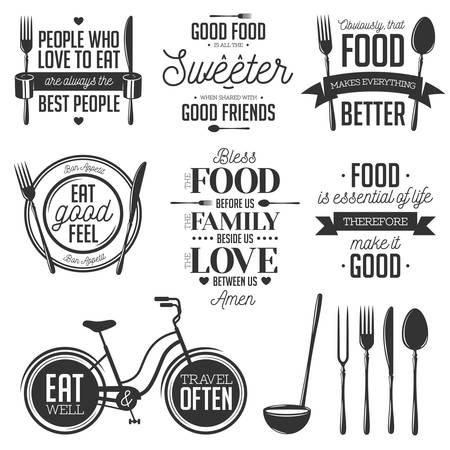 Ilustración de Set of vintage food related typographic quotes. Vector illustration. Kitchen printable design elements. - Imagen libre de derechos