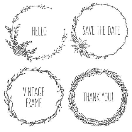 Illustration pour Vector vintage wreaths. Collection of trendy cute floral frames. Graphic design elements for wedding cards, prints, decoration, greeting cards. Hand drawn round illustration set. - image libre de droit