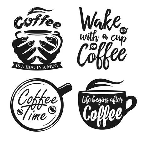 Ilustración de Hand drawn typography coffee posters set. Greeting cards or print invitations with coffee ware and quotes. Coffee time. Life begins after coffee. Coffee is a hug in a mug. - Imagen libre de derechos