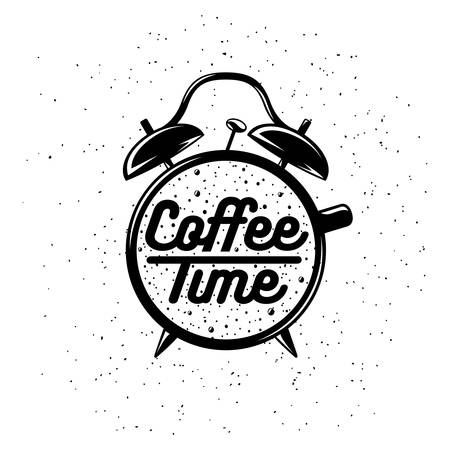 Illustration pour Alarm clock typography coffee related poster. Coffee time lettering. Vector vintage illustration on white background. - image libre de droit