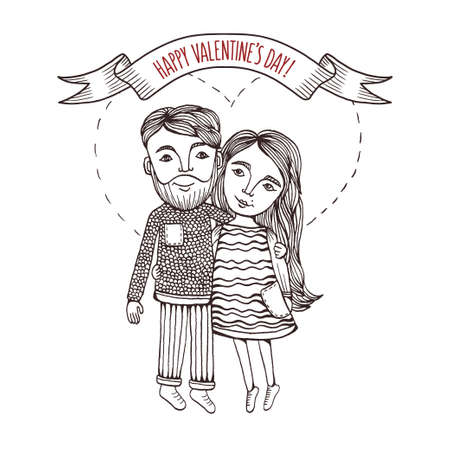 Illustration pour Valentine day greeting card with hand drawn boy and girl with heart stroke behind. Pen graphic. Vintage vector illustration. - image libre de droit