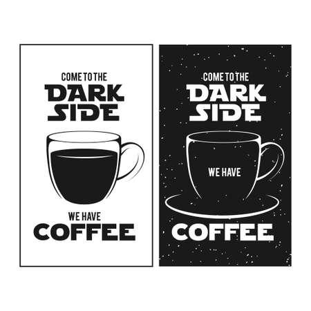 Ilustración de Dark side of coffee print. Chalkboard vintage illustration. Creative trendy design element for coffee shop or cafe advertising. - Imagen libre de derechos
