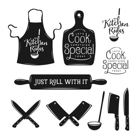 Illustration pour Kitchen related typography set. Quotes about cooking. My kitchen, my rules. Just roll with it. Lets cook something special. Vintage vector illustration. - image libre de droit