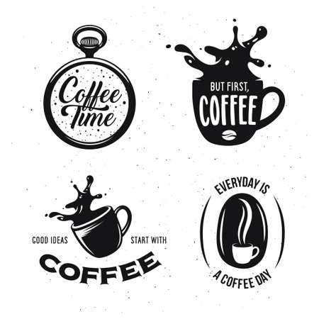 Ilustración de Coffee related quotes set. Coffee time. But first, coffee. Good ideas start with coffee. Everyday is a coffee day. Design elements for coffee shops and brew bars. Vector vintage illustration. - Imagen libre de derechos