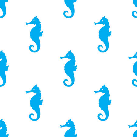 Ilustración de Hand drawn cartoon style sea horse seamless pattern. Vector illustration. - Imagen libre de derechos