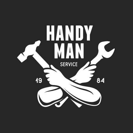 Ilustración de Handyman service label. Carpentry related vector vintage illustration. - Imagen libre de derechos