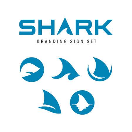 Ilustración de Set of shark logo branding design illustration. - Imagen libre de derechos