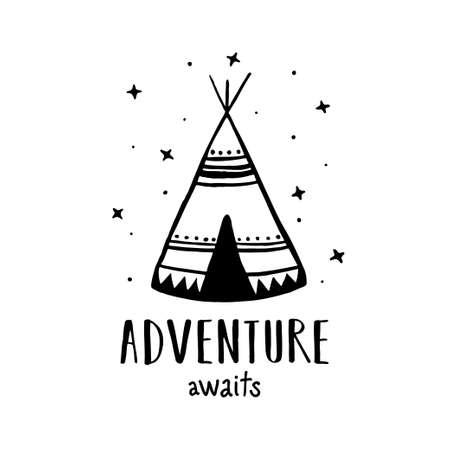 Illustration pour Adventure awaits Scandinavian style hand drawn poster. Vector illustration. - image libre de droit