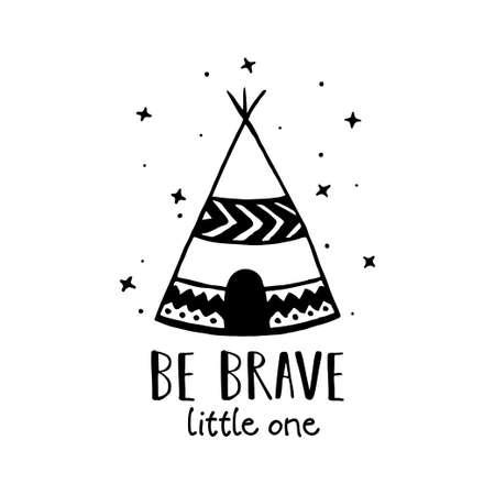 Ilustración de Be brave Scandinavian style hand drawn poster. Vector illustration. - Imagen libre de derechos