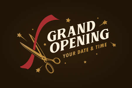 Illustration pour Grand opening template, banner, poster. Lettering design element for opening ceremony. Retro style typography. Vector vintage illustration. - image libre de droit