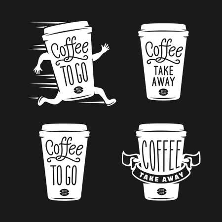 Ilustración de Coffee to go emblems set. Take away coffee labels. Hand made typography for cafe advertising prints posters t-shirt design. Vector vintage illustration. - Imagen libre de derechos