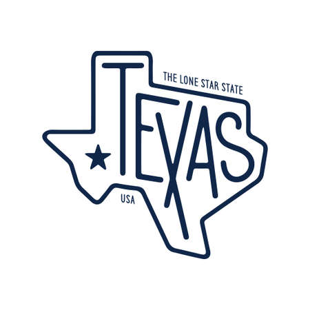 Illustration pour Texas related t-shirt design. The lone star state. Monochrome concept on white background. Vintage vector illustration. - image libre de droit