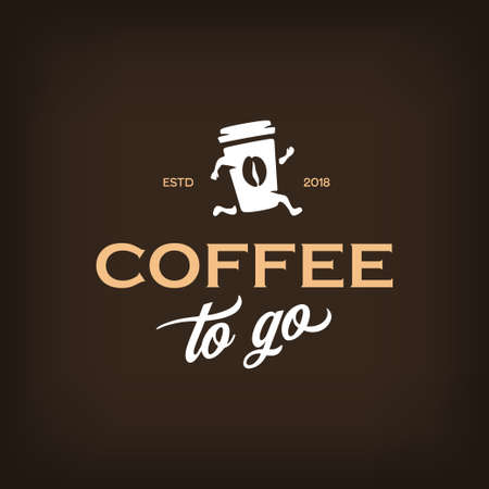 Ilustración de Coffee to go logotype template. Take away coffee emblem. Vector vintage illustration. - Imagen libre de derechos