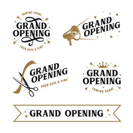 Illustration pour Grand opening templates set. Lettering design elements for opening ceremony. Retro style typography. Vector vintage illustration. - image libre de droit