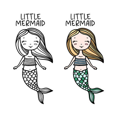 Ilustración de Little mermaid hand drawn doodle art. Cute drawing for kids clothes design prints, posters, stickers. Vector vintage illustration. - Imagen libre de derechos