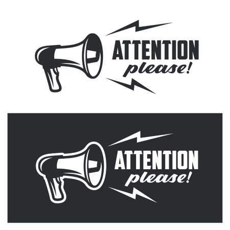 Ilustración de Attention please symbols set on white and dark background. Monochrome commercial banner poster warning sign. Vector illustration. - Imagen libre de derechos