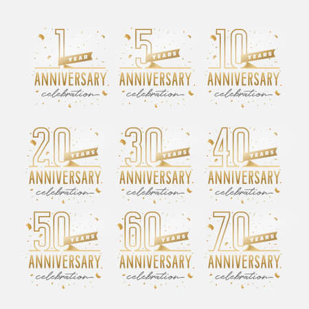 Photo pour Anniversary celebration golden template set. - image libre de droit