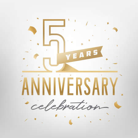Illustration pour 5th anniversary celebration golden template. Shiny gold numbers with confetti around. Vector illustration. - image libre de droit