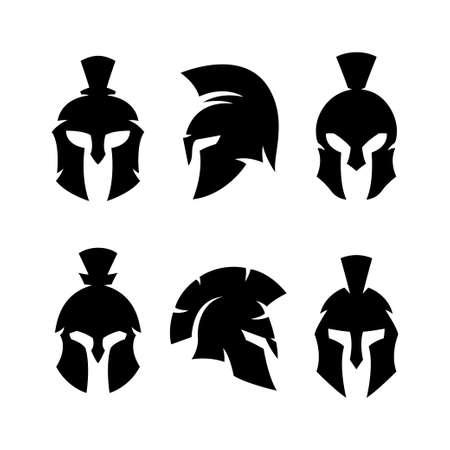 Illustration pour Spartan helmet warrior emblems logotypes set. - image libre de droit