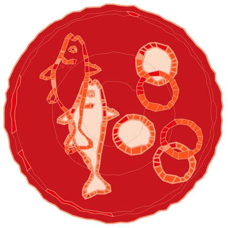 Illustration pour Five loaves and two fishes. - image libre de droit