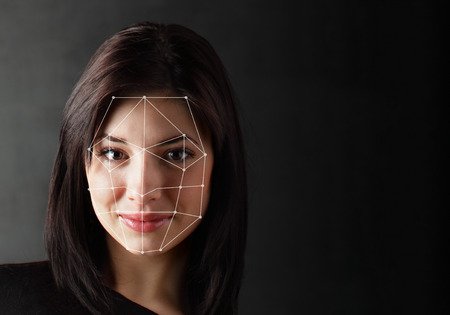 Photo for Biometric Verification - Woman Face Detection, high technology - Royalty Free Image