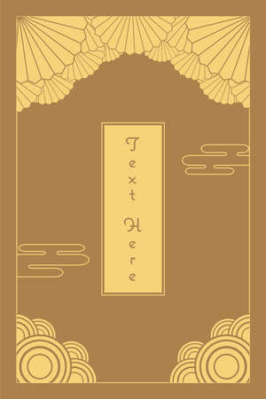 Illustration pour vintage elegant golden Japanese and Chinese invitation card template - image libre de droit