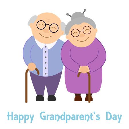Illustration for Happy grandparents. Elderly people. Grandparent's day. Vector illustration with text on white background. - Royalty Free Image