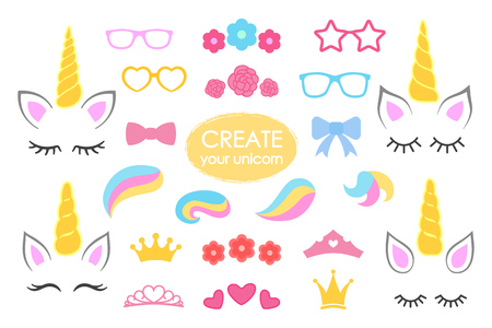 Illustration pour Create your own unicorn  big vector collection. - image libre de droit