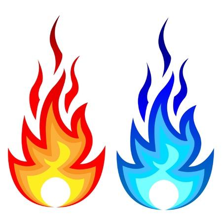 Illustration pour Illustration of flame fire and gas flame.  - image libre de droit