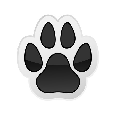 Animal Paw Print Isolated on White. Icon. Vector. Illustration.
