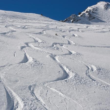 ski and snowboard tracks on powder snow