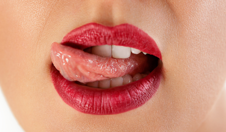 Photo for Sexy red licking lips, beautiful lip, lipstick and lipgloss, passionate. Tongue and sexy mouth - Royalty Free Image