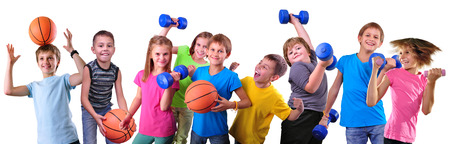 Photo pour Large group of sportive children with dumbbells and ball isolated over white .  - image libre de droit