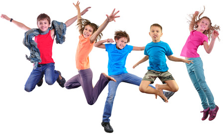 Group happy dancing jumping together children isolater over white background. Photo collage. Childhood, active lifestyle, sports and happiness concept.