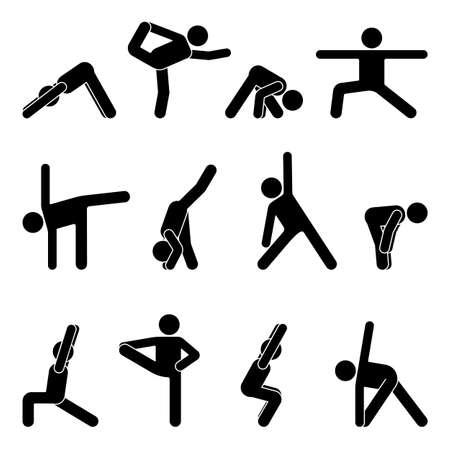 Illustration for Stick figure basic yoga position set vector illustration - Royalty Free Image