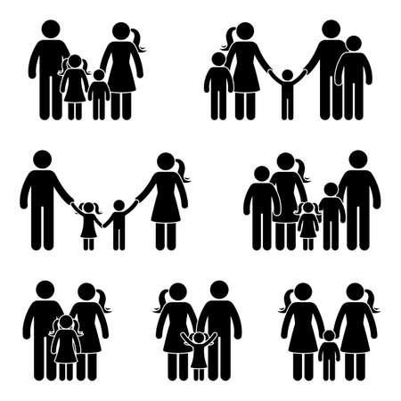 Illustration pour Stick figure family icon set. Vector illustration of people in different age on white  - image libre de droit