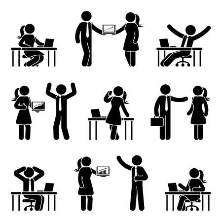 Ilustración de Stick figure business people at work icon set. - Imagen libre de derechos