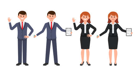 Illustrazione per Young man and woman office workers waving hands and writing notes. Vector illustration of cartoon character coworkers in business suits - Immagini Royalty Free