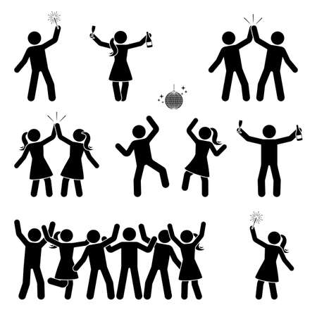 Ilustración de Stick figure celebrating people icon set. Happy men and women dancing, jumping, hands up pictogram - Imagen libre de derechos