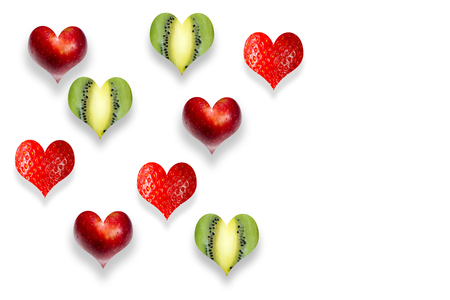 Photo for Fresh fruits in the shape of heart isolated on white - Royalty Free Image
